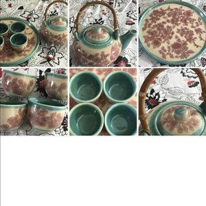 Pier One Tea/Sake Set with 4 Cups and Platter XC